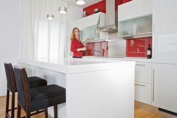 woman in modern kitchen