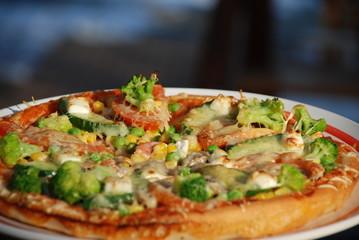 traditional italian fresh pizza close-up