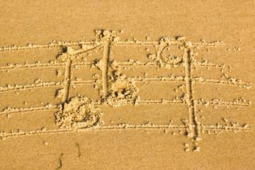 partition déssinée sur la plage