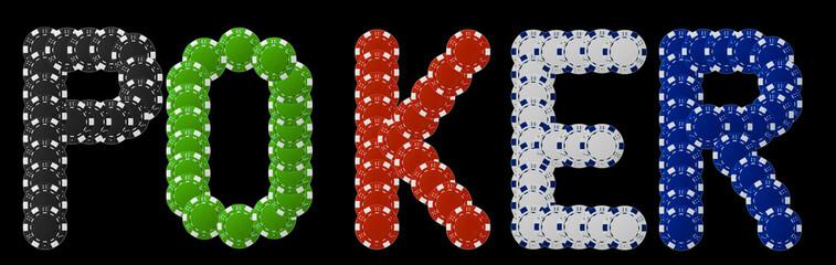 Poker written with poker chips