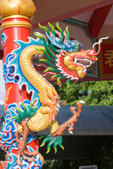 Asian image dragon in a temple at Thailand