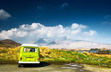 Minibus in the mountain