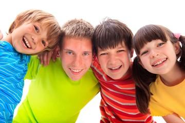 Four happy kids