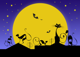silhouettes of black cats and bats in halloween night
