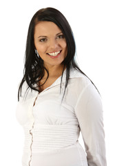Young smiling businesswoman on white background