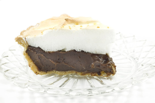 Chocolate Meringue Pie on White Background