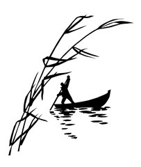 illustration of the person in boat