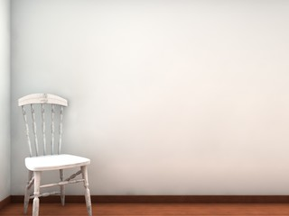 Chair to face a blank white wall