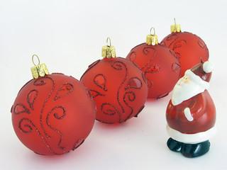 christmas balls and santa claus..