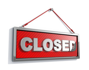 Closed sign isolated on white background