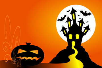 Halloween pumpkin and haunted house