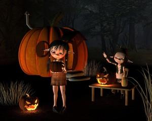 Papiers peints Dragons Halloween Goblins with Pumpkin House