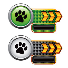 Pawprint on gold arrow checkered banner nameplates