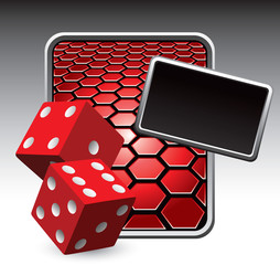 red dice on red hexagon advertisement