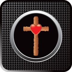 Wooden cross with heart on black checkered web button