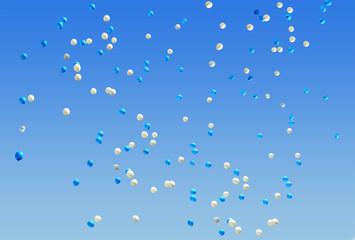 Lâcher de ballons bleu et blanc