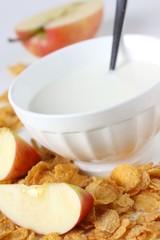 Milch und cornflakes
