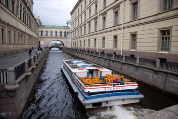 Boat on Neva canal st.Petersburg