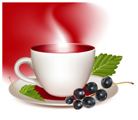 Vector illustration. Cup of tea and black currant..