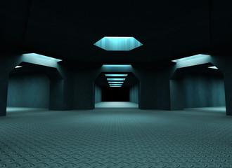Dark mysterious tunnels. 3d illustration