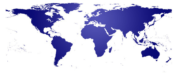 Carte du monde bleue - planisphère détaillé