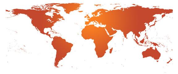 Carte du monde orange - planishère détaillé