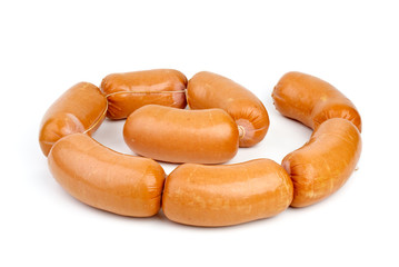 Few sausages isolated on the white background