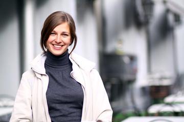 Closeup portrait of a happy young woman