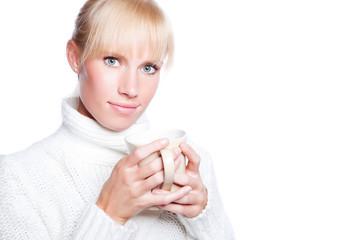 Beautiful woman holding coffee cup