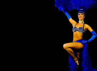 dancing showgirl in blue