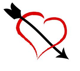 Love - Rotes Herz mit Pfeil