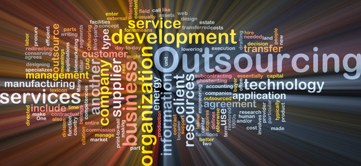 Outsourcing  word cloud box package