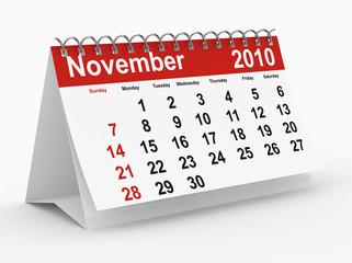 2010 year calendar. November. Isolated on white