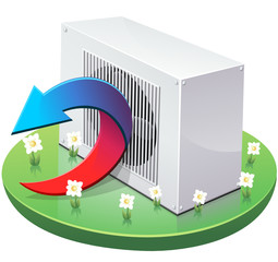 Pompe à chaleur réversible en mode chauffage (détouré)
