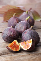 Figs on wooden rustic background