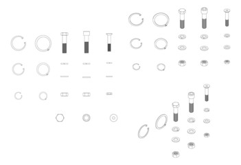 Vector set of screws, washers and nuts