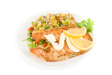 Red fish and color rice