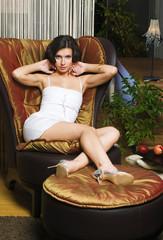 woman in the luxurios interior