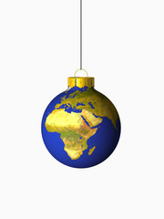 christmas ball with europe map