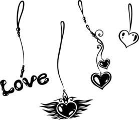 Ketten, love, Liebe, Schmuck, Bänder, Valentin