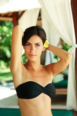 Beautiful young women relaxing in Bali