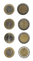 Euro coins, Spain, France, Italy and Germany
