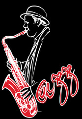Wall Mural - saxophonist on a black background