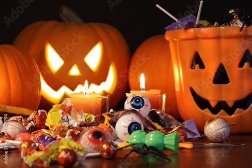 Closeup of candies with pumpkins