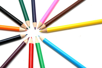 colored pencils ans pens