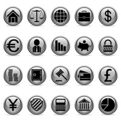 Set of 20 business and finance buttons.