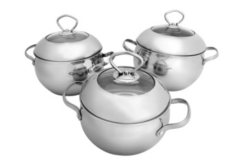 stainless steel pots and pans (isolated on white)