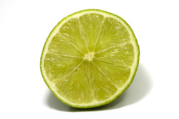 lime in macro, on white