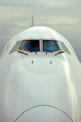 International passenger airplane front view