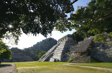 Temple of Inscriptions. Ruins of ancient Mayan city. Mexico